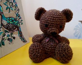 Brown Tweed Amigurumi Teddy Bear