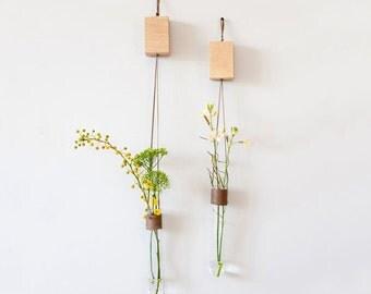 Hanging Vase, Glass Tube Vase, Green Vase, Wall Hanging, Test Tube Vase, Wedding Gift, Unique Home Accessory, Mother's Day Gift