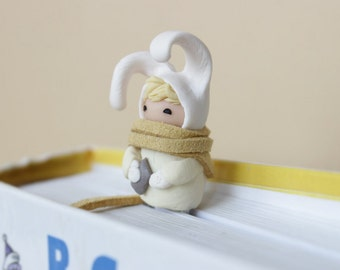 Bookmark cute bunny animal bookmarks Very cute  Handmade white hat rabbit paper clip easter