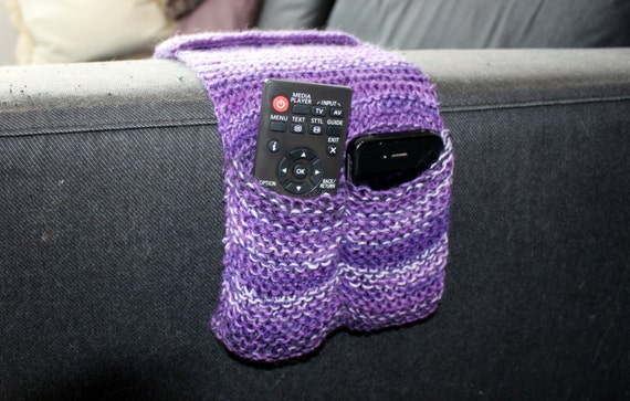 Purple Remote Caddy Knitted Remote Control by LizziesLittleKnits