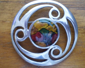 LARGE HEATHER STONE sterling silver Celtic Triskele brooch