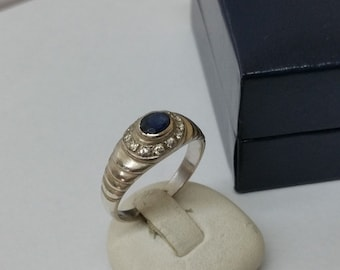 925 Silver ring with Sapphire and crystals vintage SR575