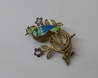 Old brooch gold plated enamel bird of paradise SB222