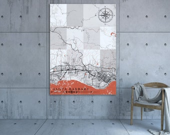 vintage map santa barbara california 1877
