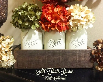 Fall Centerpiece, Fall Table Decor, Fall Decor, Fall Decoration, Fall Mason Jars, Painted Mason Jars, Rustic Fall Decor, Rustic Home Decor