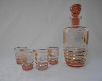 Vintage Pink Glass Liqueur Decanter Set - Four Glasses 1960's  #00049