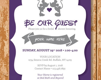 Disney Bridal Shower Invitation, Mickey and Minnie Bridal Shower Invite, Be Our Guest Bridal Shower Invite, Customized, Printable