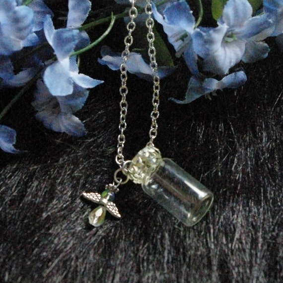 Vial Necklace For Ashes: Glass Vial With Angel Charm Urn Vial Necklace For By