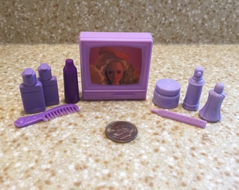 1980s Vintage Barbie Bathroom Accessories - Purple - Miniature - Pettite - Barbie Accessories - Plastic - Lotion - Comb - TV - Perfume
