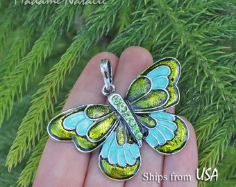 Green Butterfly Pendant, Green Rhinestone and Enamel Pendant, Green Butterfly Pendant, Pendant for Long Chain Necklace, Mother's Day Gift