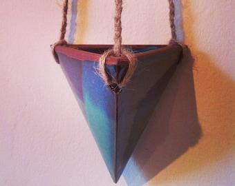 Blue green glaze pyramid hanging planter handmade ceramic pottery