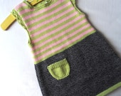 Girls knitted sweater dress  pink and green stripe jumper dress sleeveless with crochet trim age 23