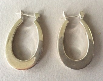 Sterling Silver Droop Hoop Pierced Earrings
