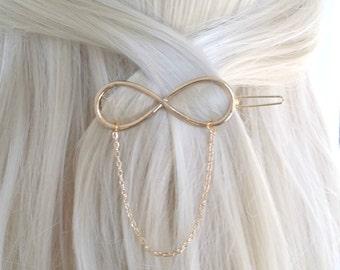 Infinity Hair Clips, Gold Hair Clips, Hair Clips, Minimal Hair Clips, Hair Pin, Gold Hair Barrette, Gold Hair Accessory, Gold Barrette