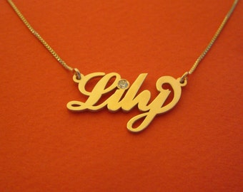 Birthstone Name Necklace Gold Name Necklace Birthstone Birthday Gift Double Thickness 14k Gold Name Necklace For Woman Gift For Birthday