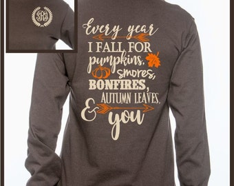 Fall Shirt, Fall Monogram Shirt, Pumpkin Shirt, Brown Shirt, Autumn Shirt, Monogrammed Shirt, Personalized Gifts, Personalized Shirt