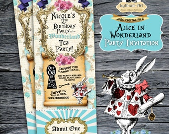 Alice in Wonderland Ticket Invitation - Alice in Wonderland Invitation - Alice in Wonderland Party - Custom Party Invitation