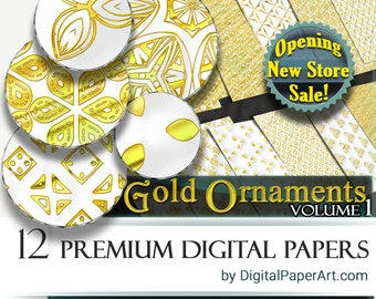 SALE Golden Digital Paper pack Golden scrapbooking paper Printable Golden paper Golden patterns Commercial Use gold foil printable paper