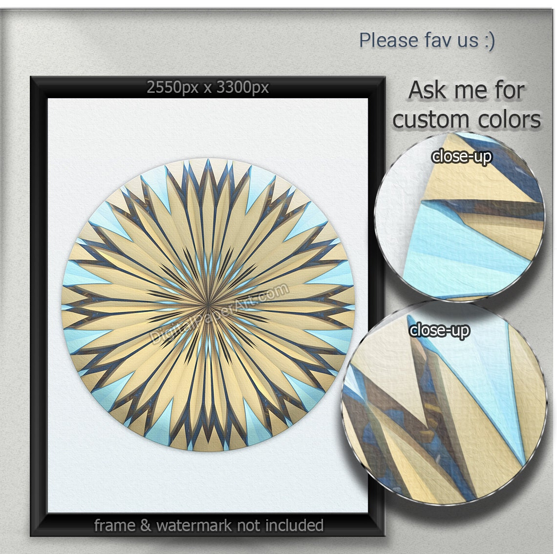 Sale Floral Home Decor Blue And Yellow Art Printable Wall