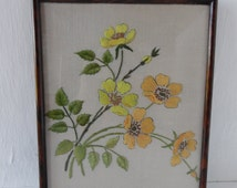 Hand embroidered picture / framed hand embroidery, yellow flowers, faux tortoiseshell frame