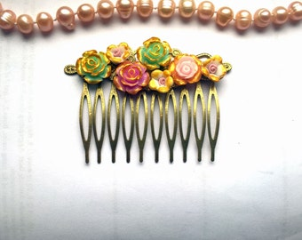 Pink Hair Comb Green hair comb gold hair comb flower hair comb wife gift bridesmaids gift fiance gift gold bridal comb gold flower comb gold
