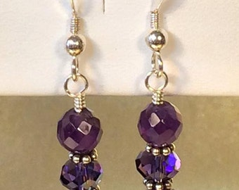 "Amethyst Healing Crystal Earrings. ""Spiritual Stone"""