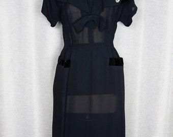 Vintage 1950's Pin Up Black Semi Sheer Fitted Dress
