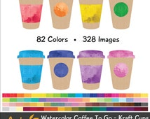 Watercolor Coffee To Go Clipart - Coffee Cup To Go Cup Clip Art for Planner Stickers- Rainbow Tea Take Out Take Away Drinks Instant Download