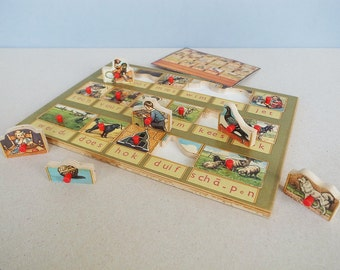 "Dutch Vintage ""Leesplankje - Aap Nooi Mies"" Children Wooden Toy Board Reading Exercise Stedelijk Museum Gouda"