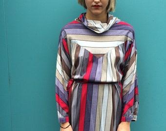 Vintage 80s Stripes Boho Maxi Dress Size One Size