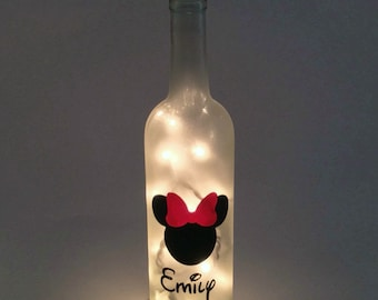 Personalized Minnie Mouse Wine Bottle Lamp / Disney / Gift Ideas