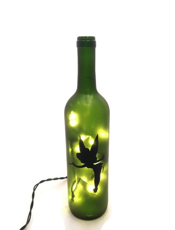 Tinkerbell Wine Bottle Lamp Fairy Light By Shopofbottles