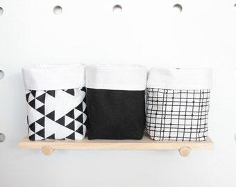 Monochrome Mini Storage Pouch, Small Storage Basket, Nursery Storage Sack, Shelf Storage Bin, Monochrome Storage, Nursery Decor