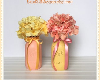Wedding Decor Centerpiece Yellow Coral-Home Decor-Shabby Chic Decor-Painted Mason Jars-Vase Table Centerpiece Decor-Baby Shower Decor