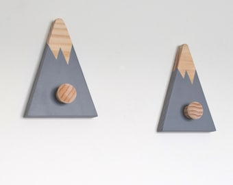 Mountain Peak Wall Hooks, Wall Hooks for Kids, Woodland Nursery Decor, Mountain Peak Wall Decor