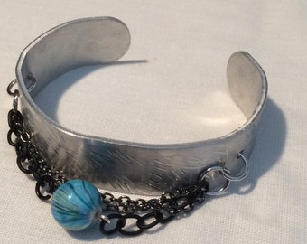 Chain and Bead Cuff Bracelet