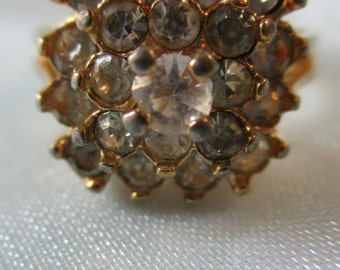 Vintage 18Kt H.G.E. Statement Ring with Prong Set Faux Diamonds