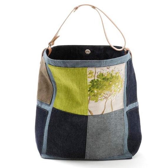 Large bucket bag Lime Canvas bag Shoulder bag Top handle