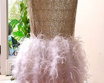 Sale 20% off, Sequin Feather Chair Cover