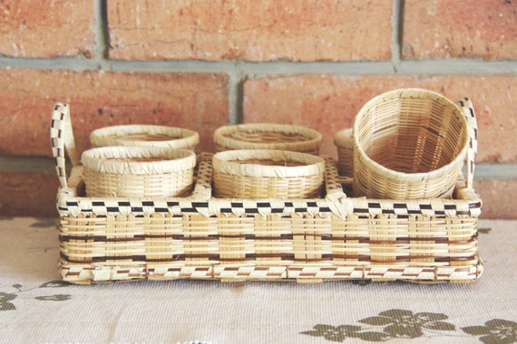 Wicker Basket With Sections : Wicker section basket with cup or glass holders