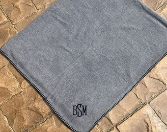Fleece Blanket Personalized - Monogrammed - Embroidered - Throw- Stadium Blanket-6 colors Black, Gray, Hunter Green, Navy, Red, Royal Blue