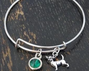 Chihuahua Bangle Bracelet, Adjustable Expandable Bangle Bracelet, Chihuahua Charm, Chihuahua Pendant, Chihuahua Jewelry, Chihuahua Lover