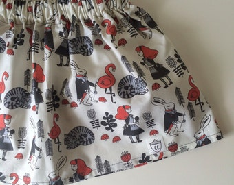 SALE! Alice in Wonderland Skirt in Red/Cream