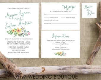 Wedding Invitation set, Floral Watercolour Watercolor, Printable Invitations, Editable Text Classic Romance Watercolour