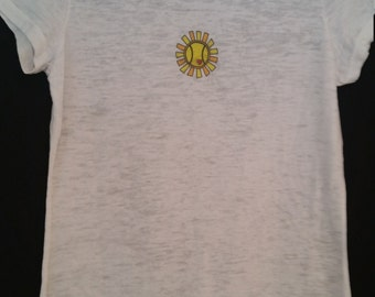 tennis t shirt with sun and tennis ball