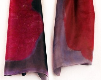Hand Painted Silk Scarf/ Dark grey raspberry scarf. Painted Silk Scarf Shawl/ Abstract silk scarf Woman fashion scarf. Silk PAinting by Dimo