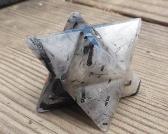 Large (50mm) TOURMALATED QUARTZ Natural Gemstone Merkaba Star (One)