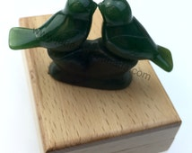 Canadian Nephrite Jade Love Birds Carving - Multiple Sizes - Green Jade - Natural Jade