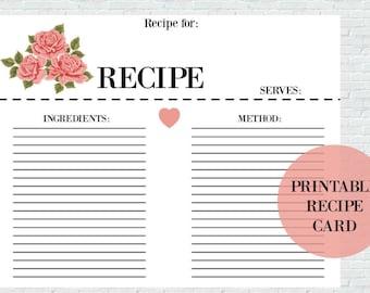 Printable Recipe Card, Instant Download, Recipe