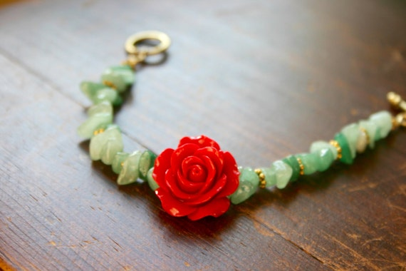 Red Rose Bohemian Bracelet with Light Green by DelightedPlace